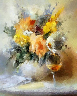 Table Cloth Digital Art - A Toast And A Bouquet For Ellen by Ronald Bolokofsky