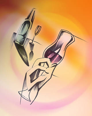 Art Print featuring the drawing A Toast by Keith A Link