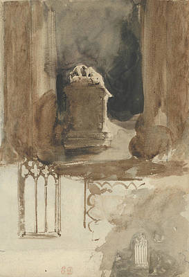Drawing - A Tomb And Studies Of Windows In The Church Of Valmont Abbey  by Eugene Delacroix