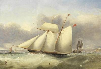 Tack Painting - A Topsail Racing Schooner Of The Royal by Edwin Hayes