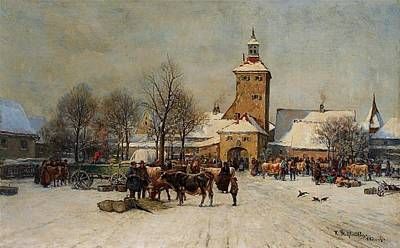 Tree Painting - A Town Gate In Winter by Karl Stuhlmller