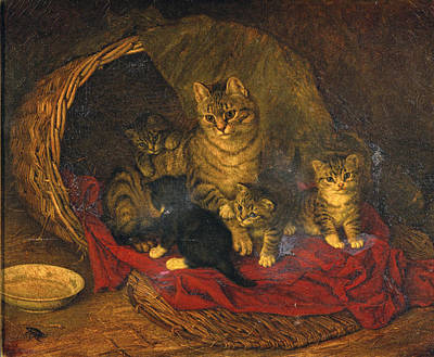 Painting - Cat And Kittens by Frank Paton