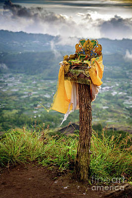 Photograph - A Traditional Balinese Offering On Top Of The Caldera At Mount Batur Volcano In Bali by Global Light Photography - Nicole Leffer