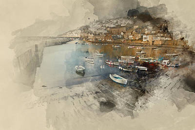 Mousehole Photograph - A Traditional Cornish Fishing Village And Harbor Cornwall Englan by Matthew Gibson