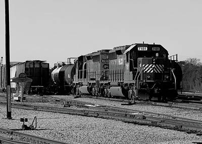 Photograph - A Train In The Yard B W 1 by Joseph C Hinson Photography