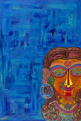 Indian Tribal Art Painting - A Trance Through The Blue by Anannya Chowdhury
