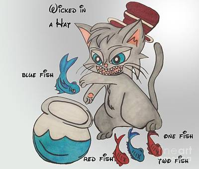 Wicked Kitty Drawing - A Trecherous Dinner by Darci Smith