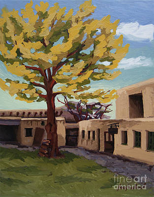 Print featuring the painting A Tree Grows In The Courtyard, Palace Of The Governors, Santa Fe, Nm by Erin Fickert-Rowland