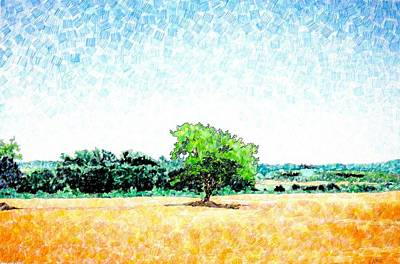Abstract Shapes Drawing - A Tree Near Siena by Jason Charles Allen