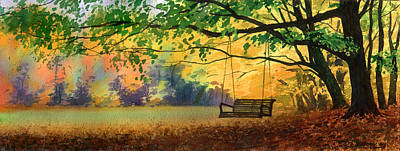 Swing Painting - A Tree Swing by Sergey Zhiboedov