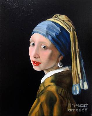 A Tribute To Vermeer - Girl With A Pearl Earring Art Print by Aparna Patil