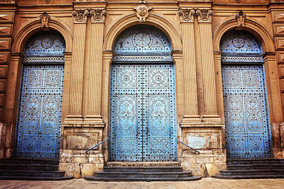 Blue Doors Photograph - A Trio Of Doors In Valencia Spain by Carol Japp