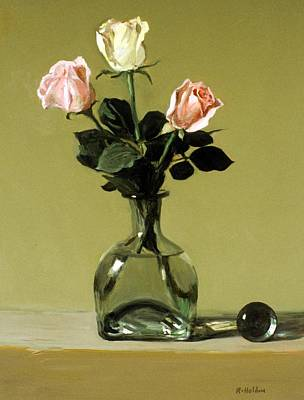 Painting - A Trio Of Roses In A Tequila Bottle by Robert Holden