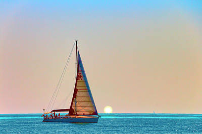 A Summer Evening Photograph - A Trip On A Yacht, Probably One Of The Most Romantic Adventure Vacation by George Westermak