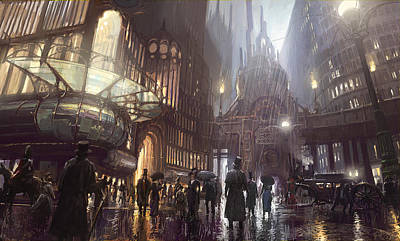 Steampunk Painting - A Trip To The Theatre by Pete Amachree
