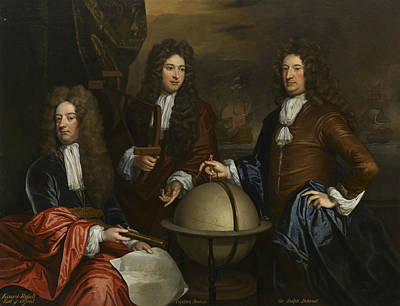 Globe Painting - A Triple Portrait Of Thomas Phillips, John Benbow, And Sir Ralph Delavall by Thomas Murray