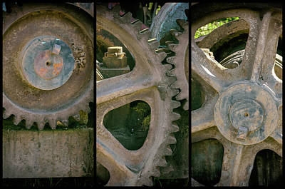 Photograph - A Triptych Of Old Gears by Tikvah's Hope