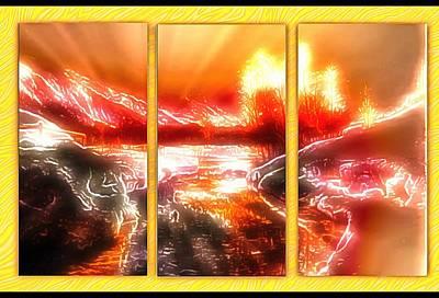 Digital Art - A Triptych Window by Mario Carini