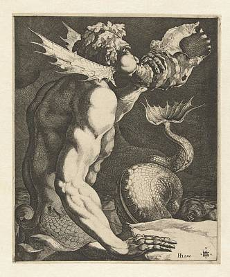Painting - A Triton Blowing A Conch by Celestial Images