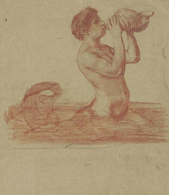 Drawing - A Triton Blowing On A Conch Shell by Treasury Classics Art