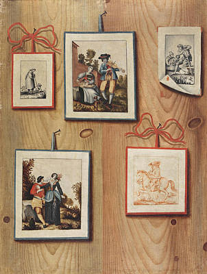 Painting - A Trompe-l'oeil With Stuck Drawings And Engravings by Antonio Mara