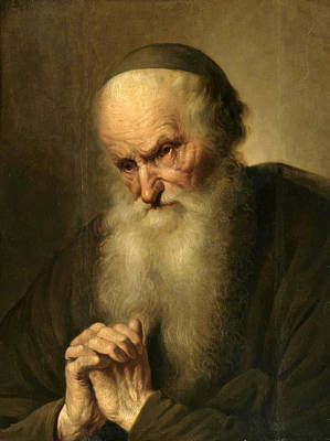 A Tronie Of An An Old Man At Prayer Art Print