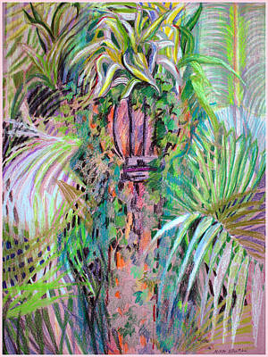 Reptiles Mixed Media - A Tropical Basket on a Post by Mindy Newman