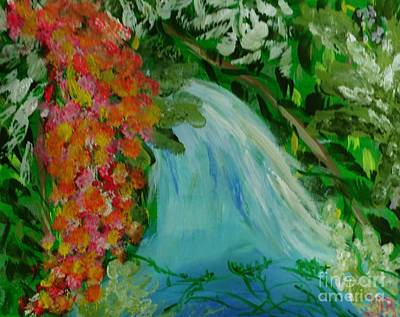 Painting - A Tropical Waterfall by Marie Bulger