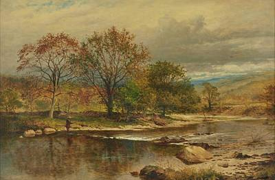 Benjamin Williams Leader Painting - A Trout Stream by Williams Leader
