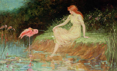 Paddling Painting - A Trusting Moment by Frederick Stuart Church