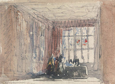 Painting - A Tudor Room With Figures, Possibly Hardwick Hall Or Haddon Hall by David Cox