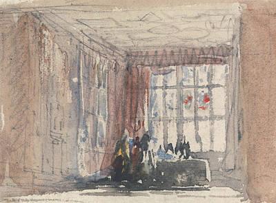 Tudor Painting - A Tudor Room With Figures, Possibly Hardwick Hall Or Haddon Hall by David Cox