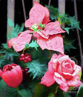 Digital Art - A Tulip A Rose A Poinsettia Ap by Dan Carmichael