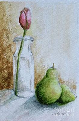 Painting - A Tulip And Two Pears by Laurie Morgan