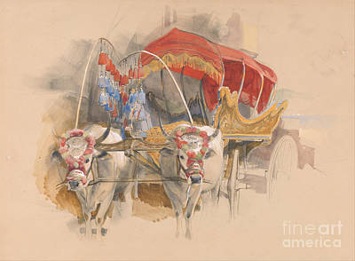 Turkish Painting - A Turkish Araba Drawn By Two White Oxen In Constantinople by Celestial Images