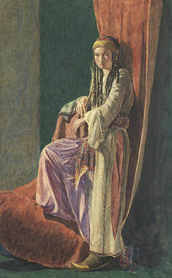 Concubine. Harem Girl Painting - A Turkish Girl by George Price Boyce