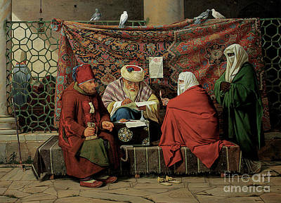 Marketplace Wall Art - Painting - A Turkish Notary Drawing Up A Marriage Contract  by Martinus Rorbye