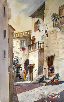 Painting - A Tuscan Street Scene by Gerald Miraldi
