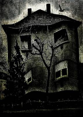 Haunted House Digital Art - A Twisted House by Mimulux patricia no No