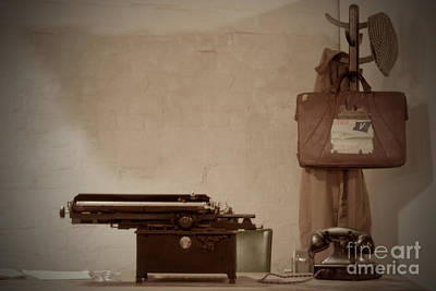 Photograph - A Typewriter A Telephone And A Hat Stand by Terri Waters