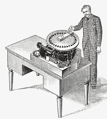 Mechanism Drawing - A Typewriter Of 1836. From The Strand by Vintage Design Pics