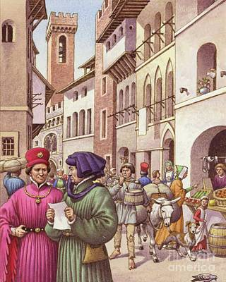 A Typical Street Scene In Florence In The Early 15th Century  Art Print