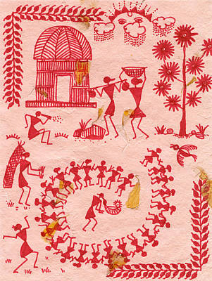 A Typical Warli Day Print by Subhash Limaye