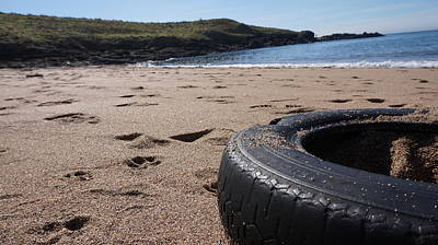 A Tyre By The Sea Art Print