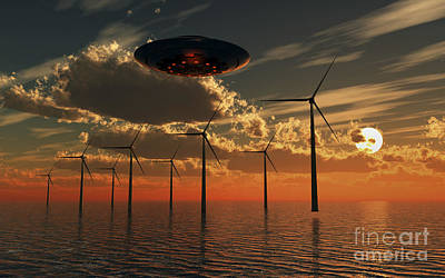 A Ufo Flying Above An Ocean Wind Farm Art Print by Mark Stevenson