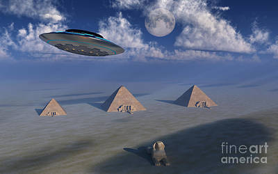 Ancient Civilization Digital Art - A Ufo Flying Over The Giza Plateau by Mark Stevenson