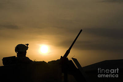 A Us Soldier Mans His .50 Caliber While Art Print by Terry Moore