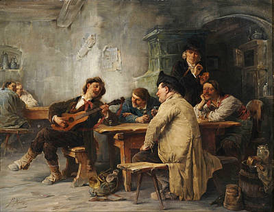 Painting - A Vagrant Ministrel In A Tavern by Friedrich von Keller