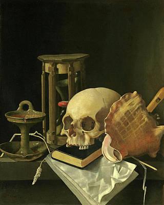 Skull Painting - A Vanitas Still Life With A Skull by Adriaen Coorte
