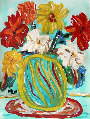 Primitive Raw Art Painting - A Vase Like Ribbons by Mary Carol Williams